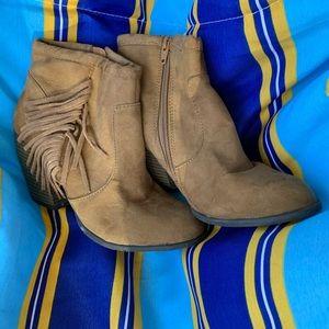 Suede Tassel Tan Booties Size 6.5 6 1/2